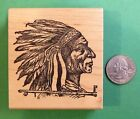 Chief with Head dress Wood Mounted Rubber Stamp