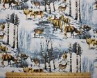 SNUGGLE FLANNEL DEER in a WINTER SNOW SCENE  100 Cotton Fabric BTY
