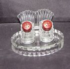 Vintage Turkey Tail Tray Pressed Glass Salt  Pepper Shaker With brown Caps