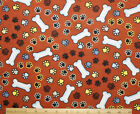 SNUGGLE FLANNEL DOG BONES  PAWS on RUST BROWN 100 Cotton Fabric NEW 1 Yard