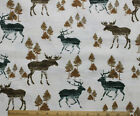 SNUGGLE FLANNEL MOOSE  ELK in TREES on NEUTRAL 100 Cotton Fabric NEW  BTY