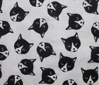 SNUGGLE FLANNEL BLACK  WHITE CAT FACES on WHITE100 Cotton Fabric BTY