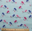 SNUGGLE FLANNEL PINK  BLUE BIRDS on PASTEL BLUE 100 Cotton Fabric NEW BTY