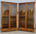 Huge Antique Oak Country Store Clothing Book Case China Dish Display Cabinet OLD