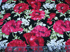 3 Yards Quilt Cotton Fabric Northcott Audrey Red Poppy Floral on Black