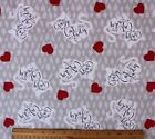 SNUGGLE FLANNEL CRAZY CAT LADY  RED HEARTS on GRAY 100 Cotton Fabric BTY