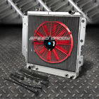 3 ROW ALUMINUM RADIATOR+1X 16FAN RED FOR 87 06 JEEP WRANGLER YJ TJ 24 42