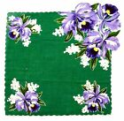 Vintage Green Cotton Handkerchief Pocket Square with Orchid Flowers
