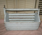 1940s PRIMITIVE WOOD STAVED FARM BASKET  Wooden Egg Tote OLD SHABBY BLUE PAINT