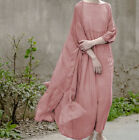 Long Women Vintage Round Neck Loose Lagenlook Maxi Maxi National Dress Skirt New