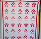 INCREDIBLE RED  WHITE ANTIQUE BASKET QUILT  HAND PIECED HAND QUILTED