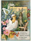 c1890s Easter Bunny Kelsey Children Clothes Hartford CT Victorian Trade Card