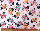 SNUGGLE FLANNEL FLOWER COVERED BLACK FACE SHEEP on WHITE100 Cotton Fabric BTY