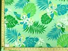 19 Prints Green Teal Hawaiian Floral Print Poly Cotton Fabric 4.99yd