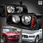 2006-2010 Dodge Charger Black Replacement Headlights+Signal Corner Lights Pair