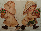 UNUSED M Cooper Dbl Sided Little Boy in the Rain 47 Vintage Greeting Card