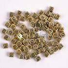 200pc 6mm Gold Metallic Alphabet Beads with Black Letters