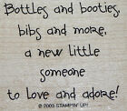 BABY BOTTLES BOOTIES AND BIBS TO ADORE STAMPIN UP WOOD MOUNT RUBBER STAMP