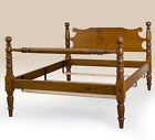 Classic Queen Size Cannonball Bed Frame - Tiger Maple Wood - Bedroom Furniture