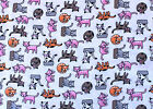 SNUGGLE FLANNEL MULTI COLOR CRAZY CATS on WHITE 100 Cotton BTY