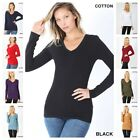NEW BASIC V NECK LONG SLEEVE FITTED TOP SOLID STRETCH T SHIRT REG n PLUS S 3XL