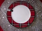 CIROA FINE BONE CHINA RED GOLD BLACK PLAID TARTAN SALAD DESSERT PLATES SET 2 NEW