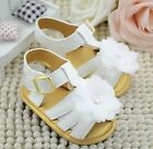 USA 12 18 Months Baby Girl White Daisy Soft Sole Sandals Crib Shoes PreWalker