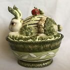 Fitz Floyd Vista Bella Vegetable Casserole Soup Serving Bowl Bunny Rabbit Figure