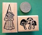 Mama Gnome and a Mushroom Patch Two Rubber Stamps wood mounted