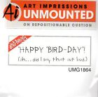 New ART IMPRESSIONS RUBBER STAMP Happy Bird day Birthday greeting cling