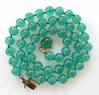 Vintage Jade Green Gold Filled Glass Bead Necklace Italy Art Deco Antique