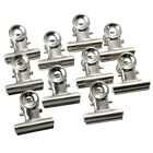 10 Pcs Mini Bulldog Letter Clips Stainless Steel Silver Metal Paper Binder Clip