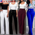 Plus Size Women Palazzo Pants Wide Leg Flared Ladies Empire Waist Loose Trousers