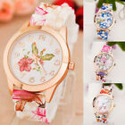 Women Girl Watch Silicone Printed Flower Causal Quartz WristWatches Gift