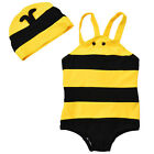 Baby Kids Cuat Bee SwimsuitStyle One-Piece Swimwears with Hat Wing Bathing Suit