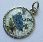 VTG ANTIQUE 800 835 SILVER GUILLOCHE GERMAN ENAMEL FLOWER FORGET ME NOT CHARM