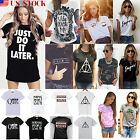 Fashion Women Casual Loose Fit Short Sleeve Print T Shirt Tops Blouse Summer Tee