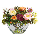 Mixed Peony Silk Flower Arrangement w Glass Vase