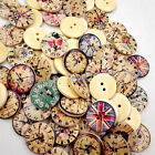 50 Pcs Vintage Wooden Buttons Round 2 Holes Sewing Scrapbooking DIY 20mm Bluelan