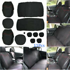 11 Pcs New Car Seat Cover Low Front Back Set BlackRed Edge Full Seat Cover Set