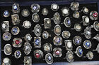 10 20 30 50PCS Wholesale Mixed Stone Tibet Silver Plated Crystal Ring Jewelry US