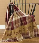 Country Primitive Live Laugh Love Stenciled Woven Throw 50 x 60 Blanket Cover