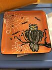 Laurie Gates Ware Halloween Ceramic Tray Owl Spider Web Bat 1025 Hand Painted