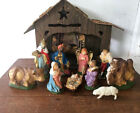 Antique Vintage 11 piece Nativity Set Hand Painted Italy  Japan with Creche