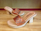 Seychelles Womens Leather Sandal Mules Shoe Western Silver Studded Design Sz.7.5
