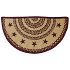NEW Primitive Farmhouse Burgundy Tan Star Half Circle Braided Jute Rug