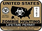 United States Zombie Hunting Permit sticker outbreak response team decal BROWN