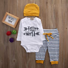 Kids Boy Girls Clothes Tops T Shirt Romper Pants 3pcs Baby Outfits Set US Stock