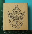 HAPPY BIRTHDAY TEDDY BEAR Rubber Stamp by Imagine That Banner Saying