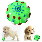 2X Textured Paw Design Colorful Rubber Round Ball Squeaky Toy for Pet Dog Poodle
